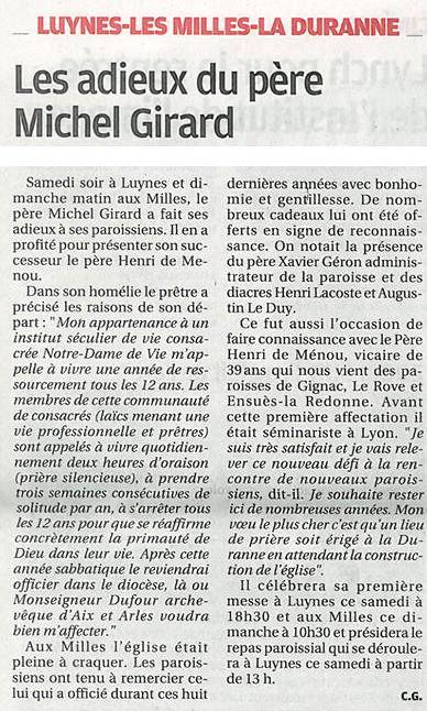 La Provence du 5 septembre 2017, les adieux du Père Michel Girard