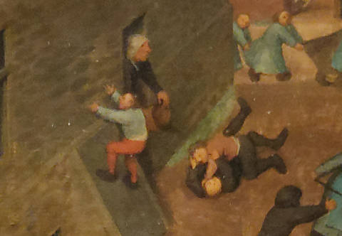 Brughel l'Ancien - Bagarre au sol sous les yeux d'une vieille dame indignée, la seule adulte du tableau