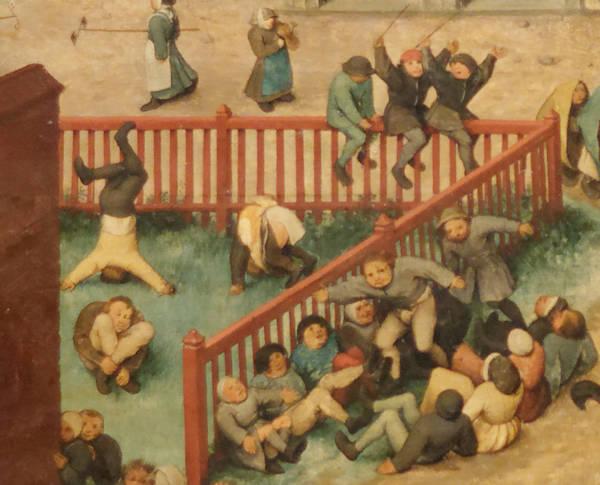 Brughel l'Ancien - Les jeux d'équilibre dans l'enceinte de bois rouge.