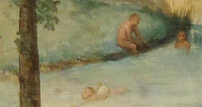 Brughel l'Ancien - La nage avec baudruche dans la rivière turquoise