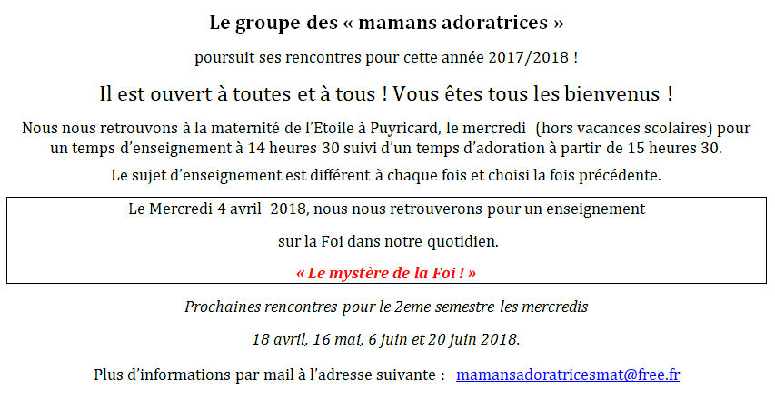 Mamans adoratrices - 4 avril 2018