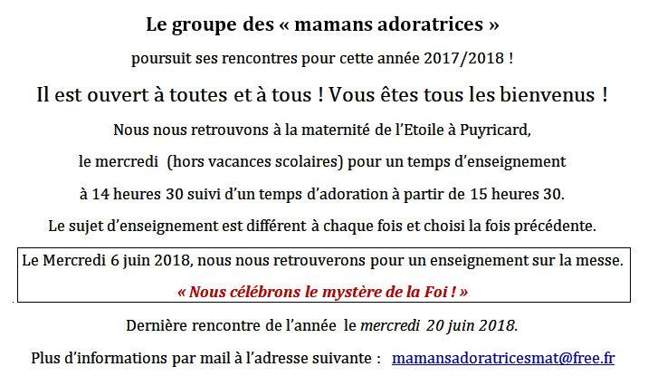 Mamans adoratrices - 6 juin 2018
