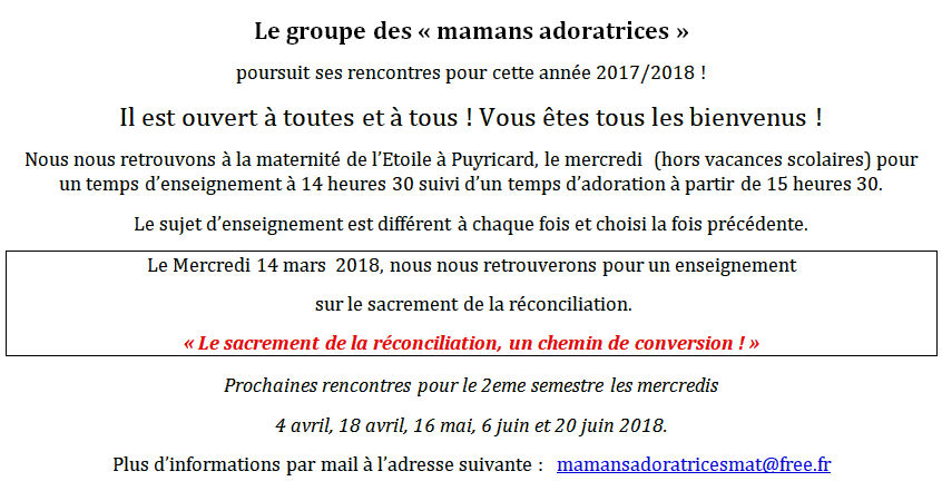 Mamans adoratrices - 14 mars 2018