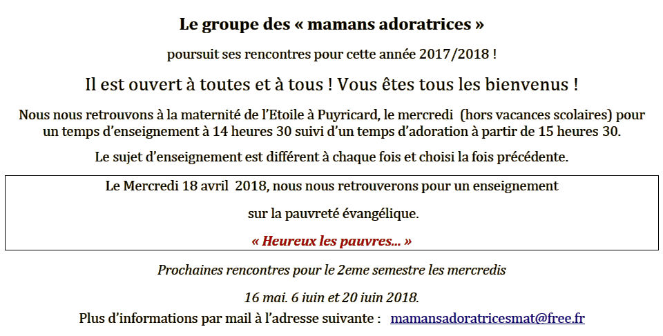 Mamans adoratrices - 18 avril 2018