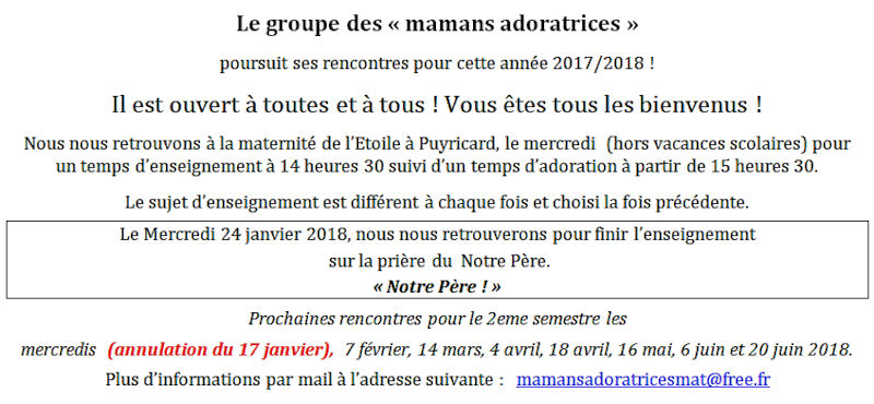 Mamans adoratrices - 24 janvier 2018