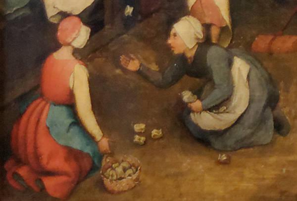 Brughel l'Ancien - L'utilisation de produits courants, osselets