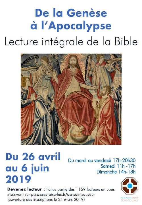 De la Genèse à l'Apocalypse - Lecture intégrale de la bible - 26 avril au 6 juin