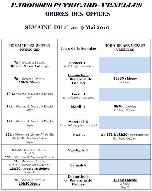 Horaires messes du 1 au 9 mai 2010