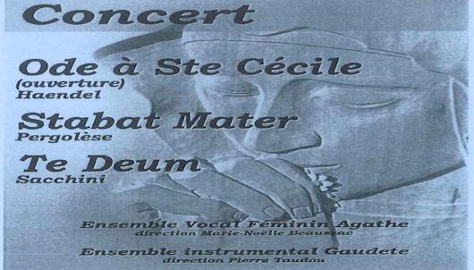 Affiche concert Ensemble Vocal Féminin Agathe et Ensemble Instrumental Gaudete