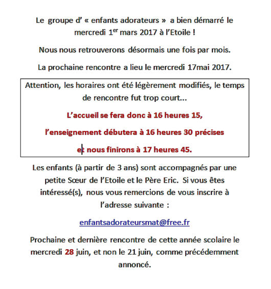 Enfants adorateurs 17 mai 2017