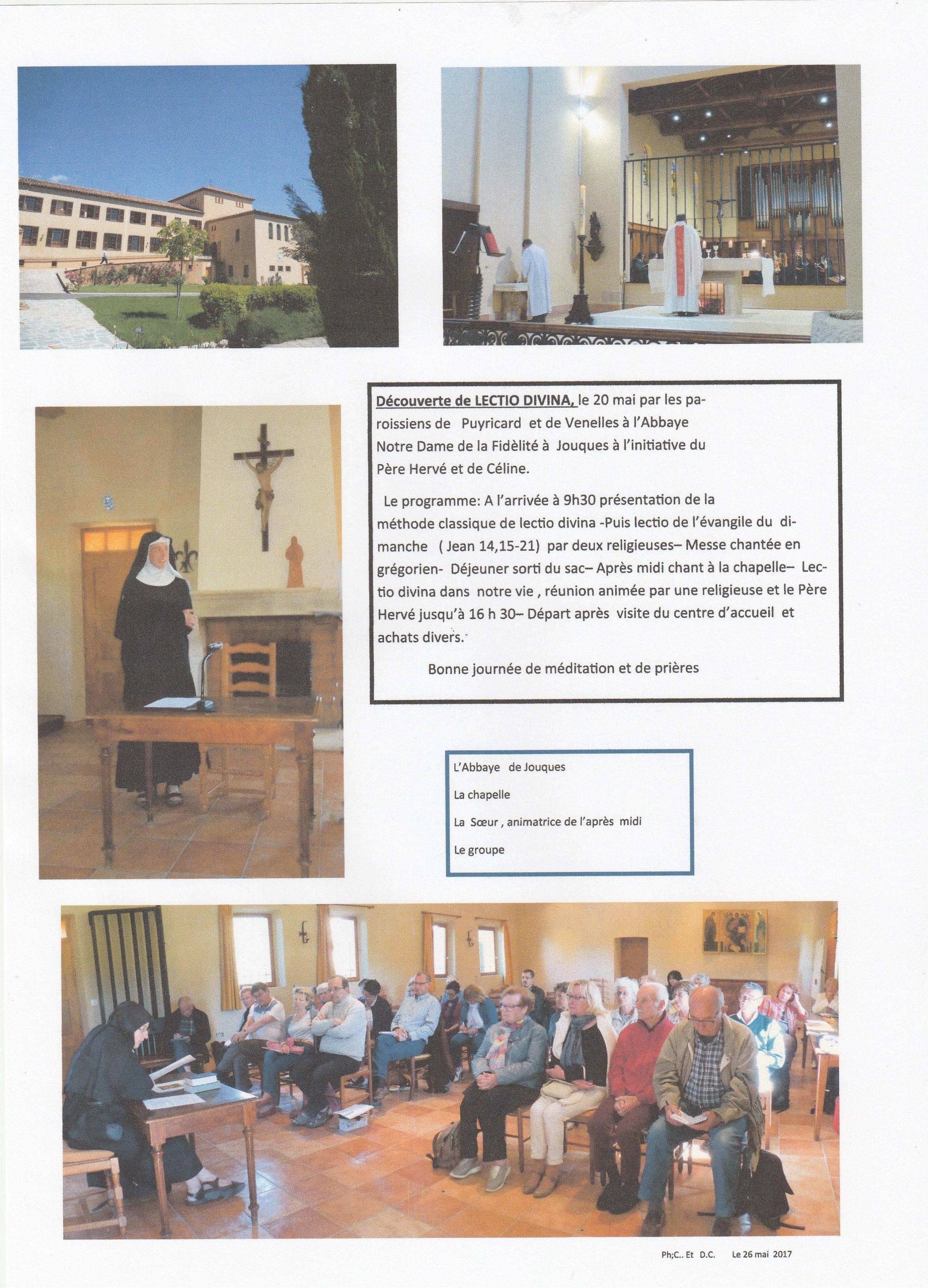 Lection Divina 20 mai abbaye Notre Dame de Fidélité - Jouques