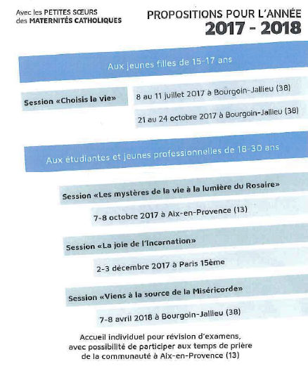 Propositions 2017-2018 Petites sœurs des maternités catholiques