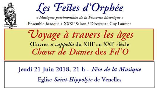 Jeudi 21 juin à 21h00 - Église Saint-Hippolyte de Venelles