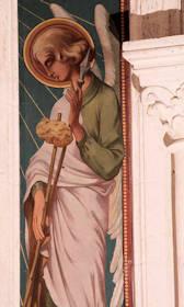 Le Christ entre deux anges portant les instruments de la Passion - Détail : ange avec la lance et le porte-éponge.