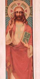 Le Christ entre deux anges portant les instruments de la Passion - Détail : Christ bénissant.