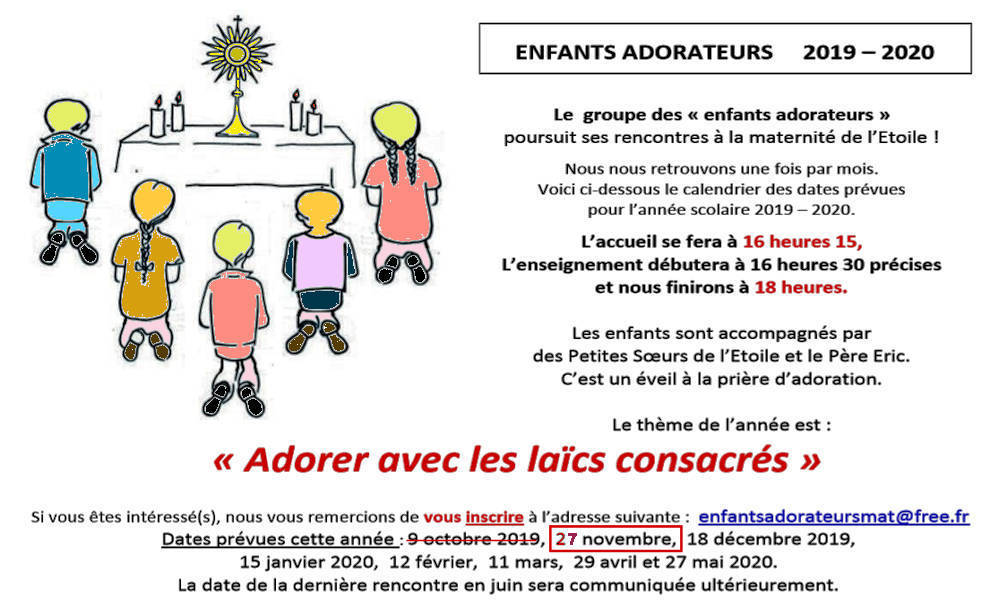 Enfants Adorateurs - Programme 2019-2020