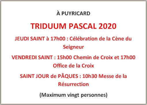 Triduum pascal, programme offices à Puyricard